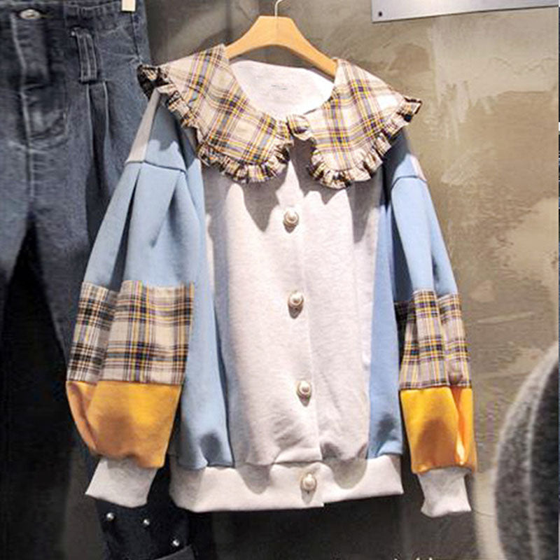 Ulzzang plaid sweatshirt KF9597