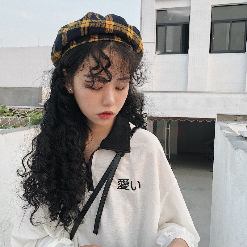 Vintage plaid beret KF90557