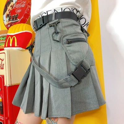 Grey pocket pleated skirt KF90020