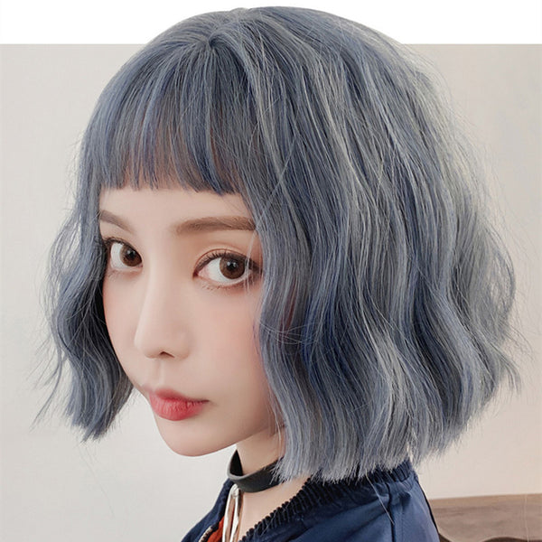 Gradient gray-blue wig KF90093
