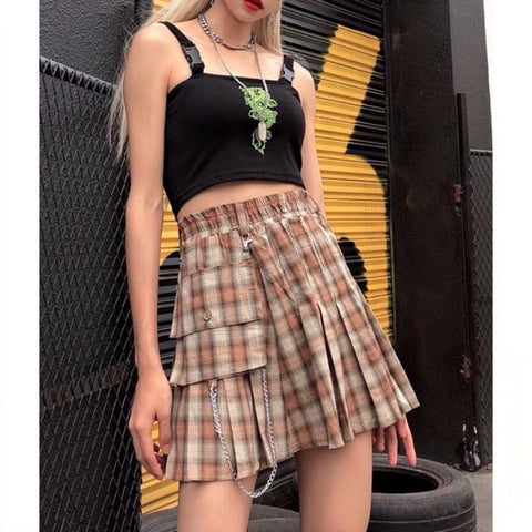 Plaid pleated skirt KF9556