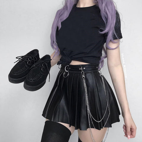 Black leather pleated skirt KF81248