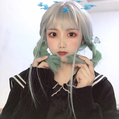 Green grey wig  KF81022