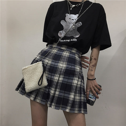 Plaid pleated skirt KF9513