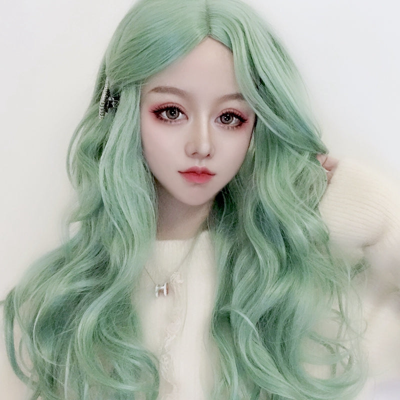 Green long roll wig KF90501
