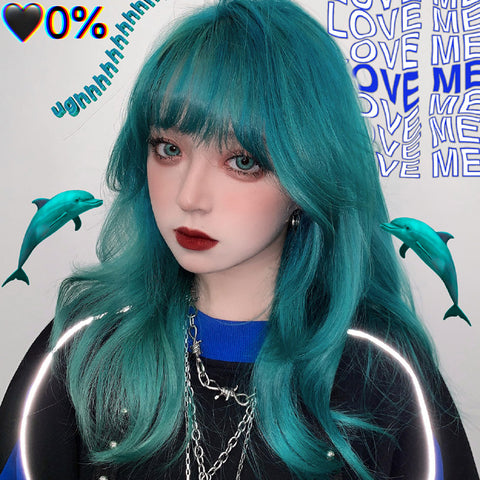 Blue-green wig KF9614