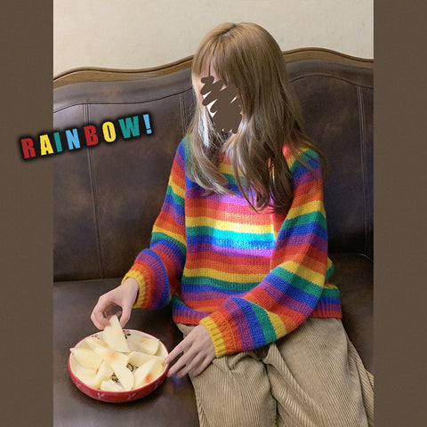Rainbow Striped Sweater KF9488