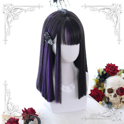 Black purple wig KF90563
