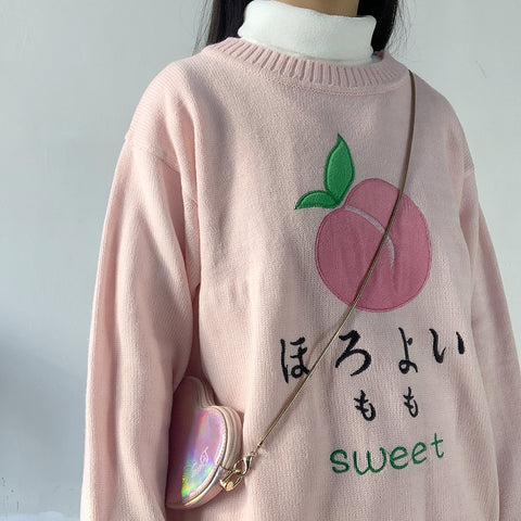 Peach embroidered sweater  KF9269
