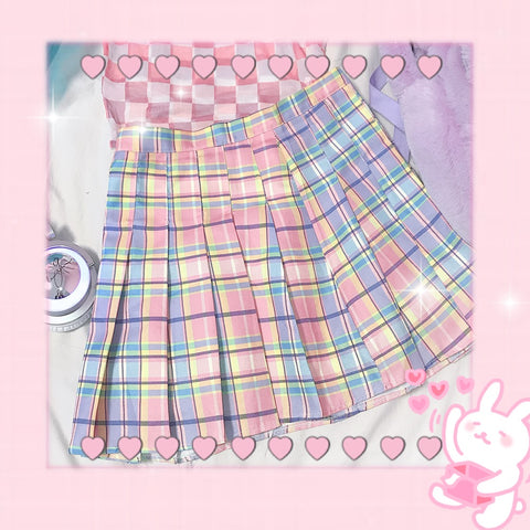 Pink plaid pleated skirt KF90538