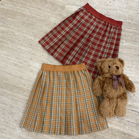 Plaid pleated skirt KF9516