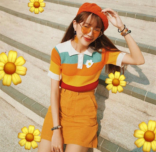 Rainbow T-shirt + orange skirt KF90523