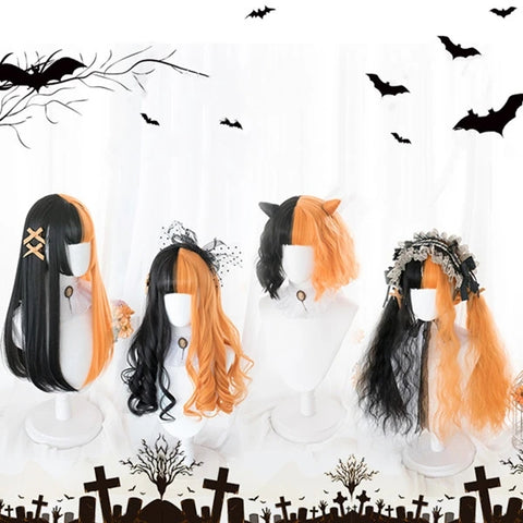 black + orange wig KF81188