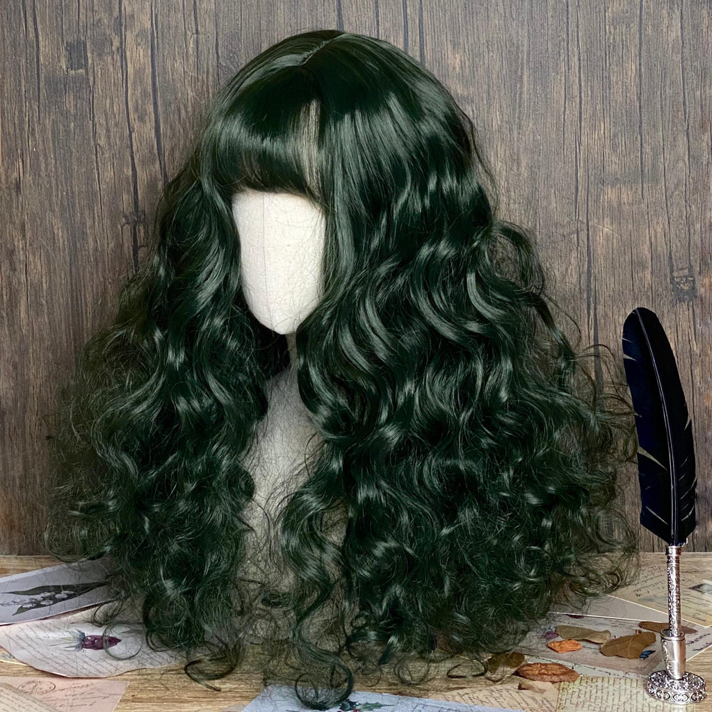 Dark green long curly wig KF81793