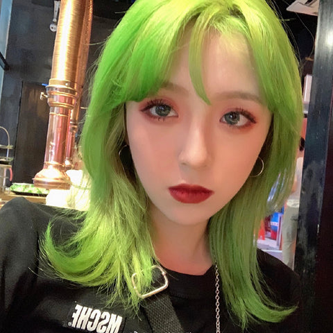 Green short straight wig KF9619