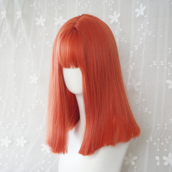 Orange short straight wig KF9309