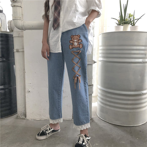 Bear embroidered pants  KF81006