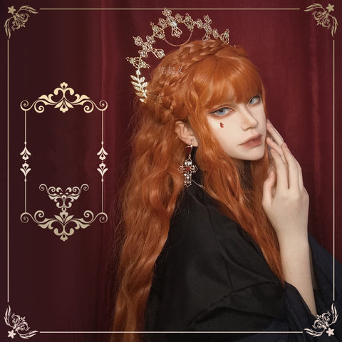 Orange long curly wig KF81790
