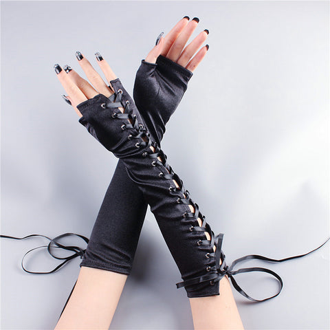 Punk black gloves KF9163