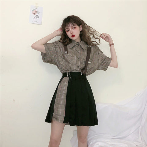 Shirt + black skirt two-piece KF90671