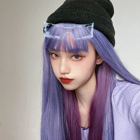 Purple long straight wig KF81460
