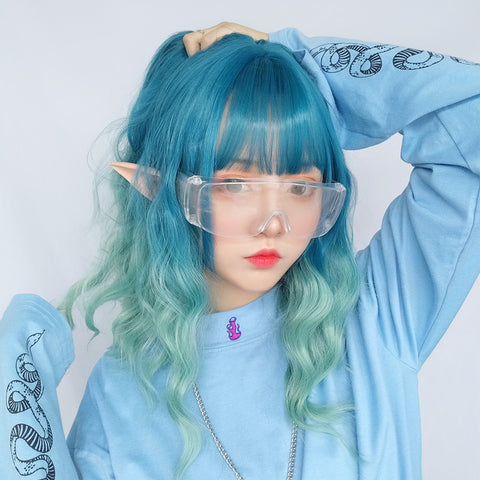 BLUE GREEN GRADIENT WIG KF9483