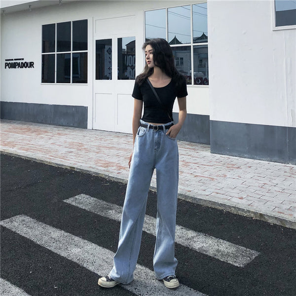 Chic wide leg jeans KF90660