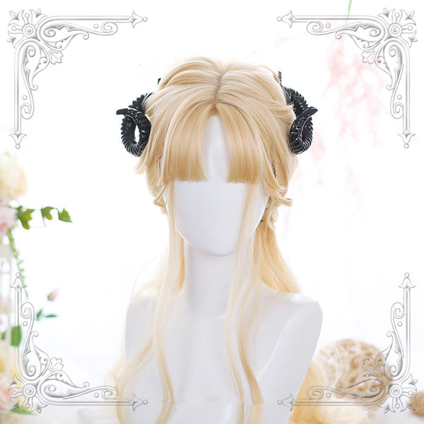 Golden long roll wig KF90552