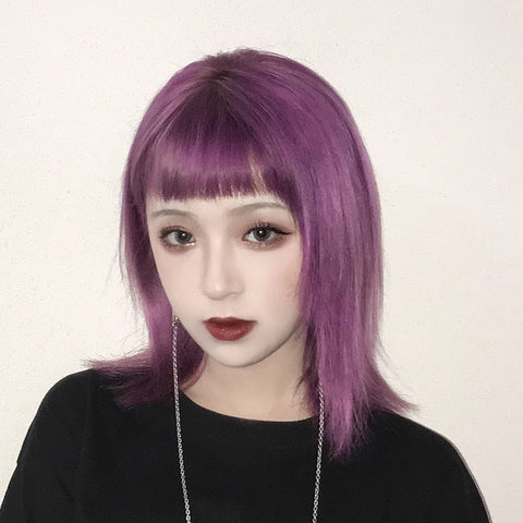 Purple medium long wig KF90443