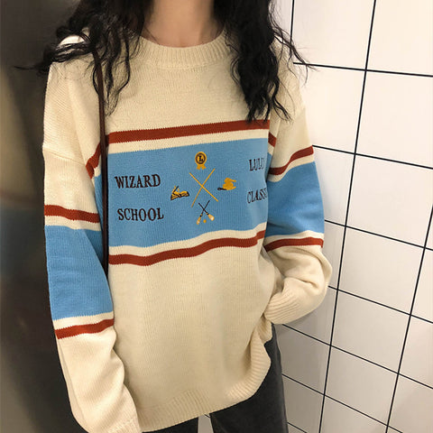 Embroidered striped sweater KF9195