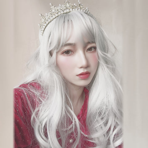 White long curly wig KF9615