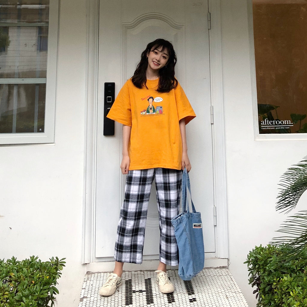Chic Short Sleeve T-Shirt + Plaid Pants KF90669