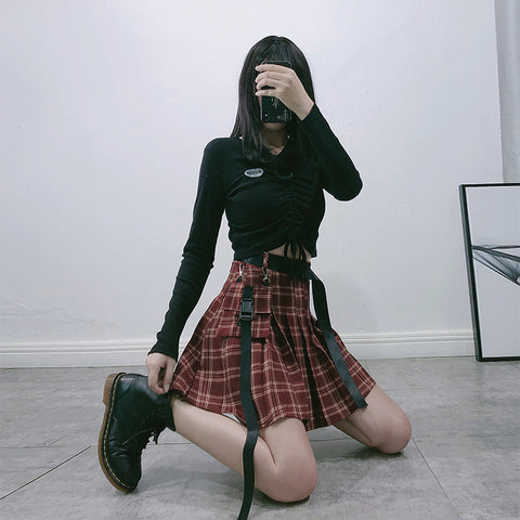 Red plaid skirt KF81284