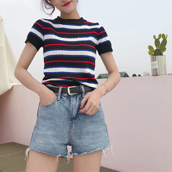 Stripe tight knit T-shirt KF50015