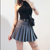 Gray high waist pleated skirt KF50127