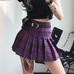 Retro high waist plaid skirt KF50522