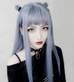 BLUE GRAY LONG STRAIGHT FLUFFY WIG  KF40472