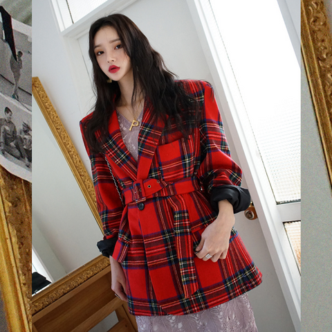 Chic Plaid Coat KF90213