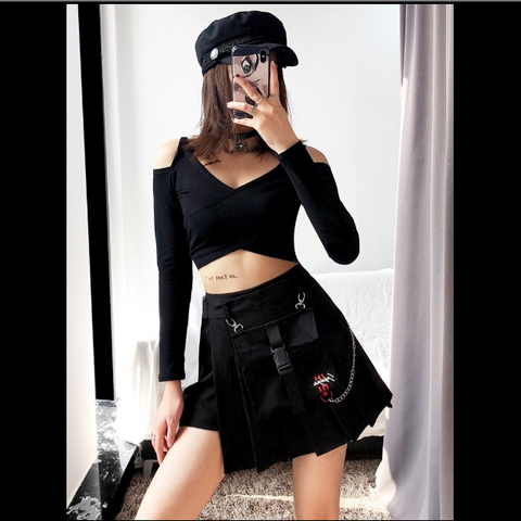 Chain pleated skirt KF90223