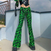 Green flame pants KF9180