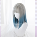 Blue and gray gradient wig KF9512