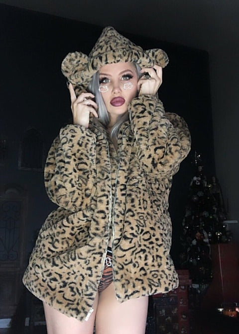 Plush leopard coat KF9544