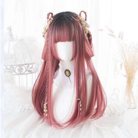 Pink long straight wig KF81191