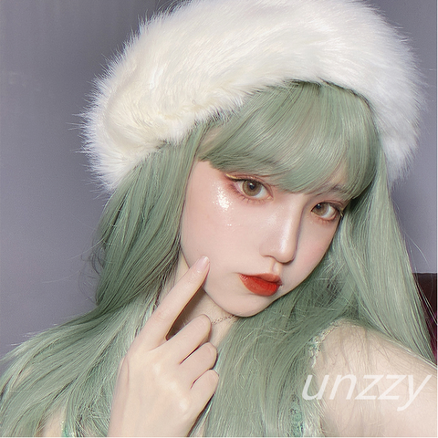 Green long straight wig KF81311
