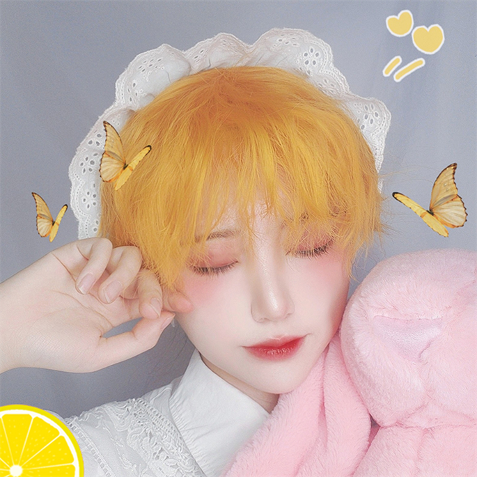 Lemon yellow short curly wig KF81549