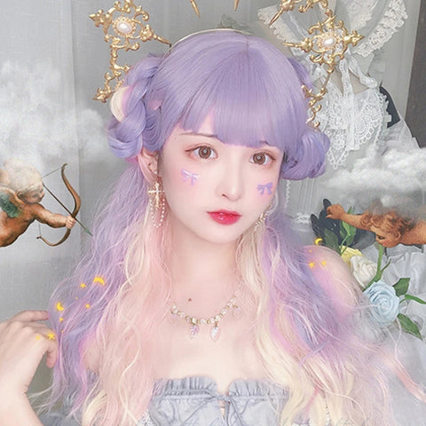 Purple pink gradient wig KF81848
