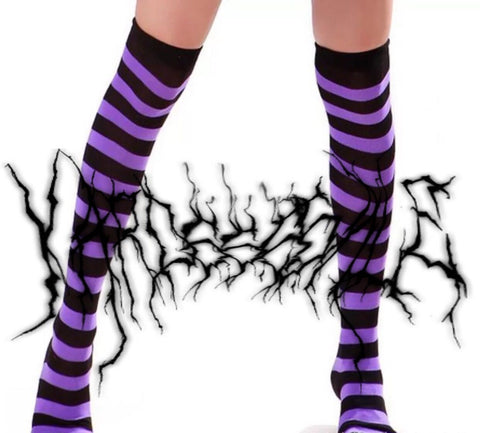 Purple Striped Socks KF9319