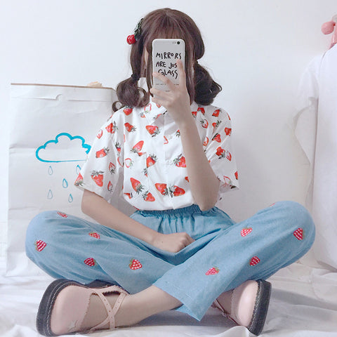 Fruit Strawberry Print Short Sleeve Top + Jeans KF30235