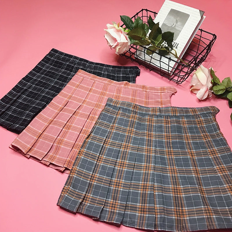 Plaid pleated skirt KF90360
