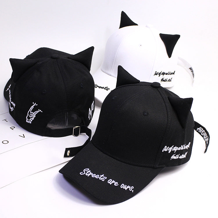Cute Black and White Cat Ears Cap Cute KF30355